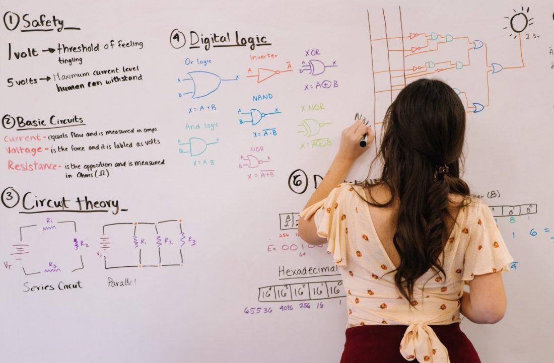 Frau schreibt an Whiteboard eine Formel auf