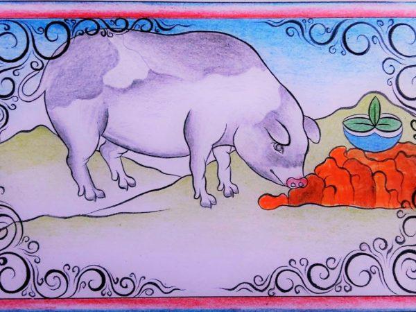 Zeichnugn von einem Schwein in einer hügeligen Landschaft, das etwas rotes vom Boden isst.