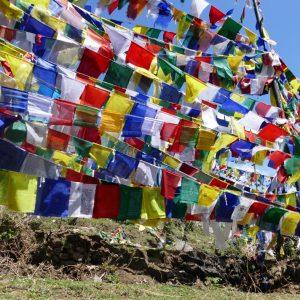Unzählige Tibetische Gebetsfahnen, die aufgehängt sind an einem Hügel.