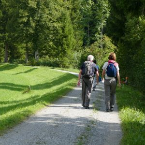 Mann und Frau wandert auf einem Kieselweg in der Natur. Man sieht sie nur von hinten.